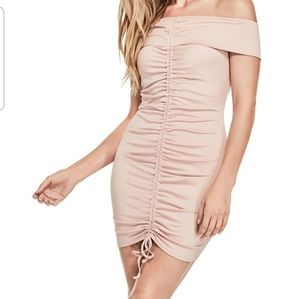 Guess Factory Vergara off the shoulder ruched dres